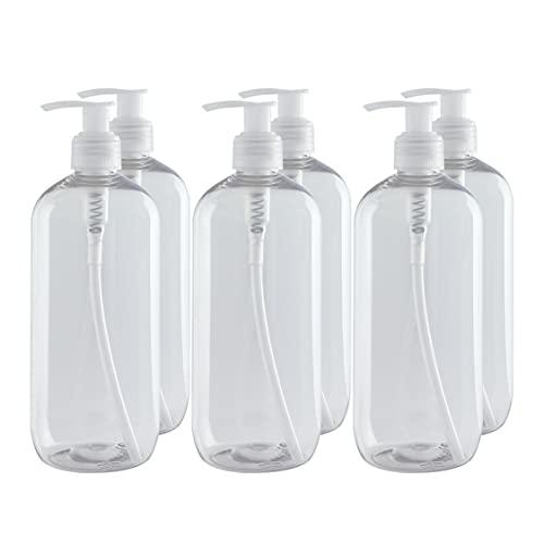 Bote dispensador de Gel rellenable 500 ml. Frasco dosificador hermético de plástico Pet Transparente para jabón, champú,...