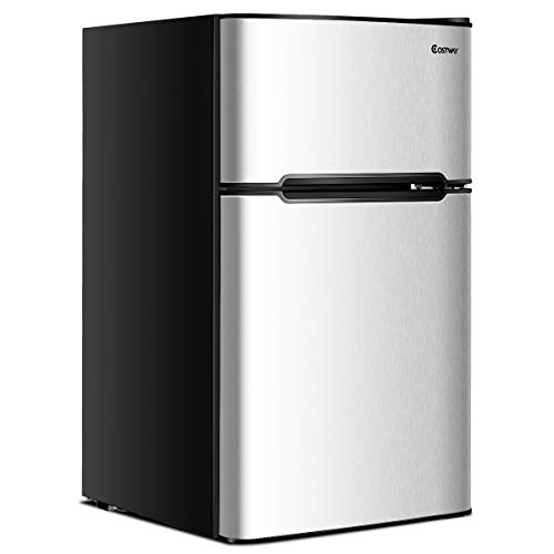 COSTWAY Compact Refrigerator, 3.2 cu ft. Unit 2-Door Mini Freezer Cooler Fridge with...