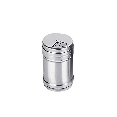 Brussels08 - Dispensador de sal y pimienta de acero inoxidable para condimentar especias y condimentos, con agujero para el hogar, camping, picnic, acero inoxidable, small