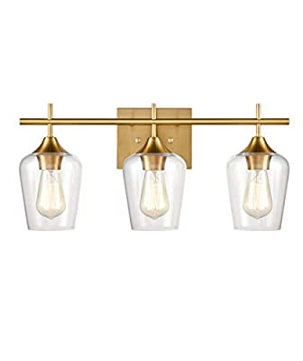 CLAXY Industrial Bathroom Vanity Lights 3-Light Clear Glass Brass Wall Sconces