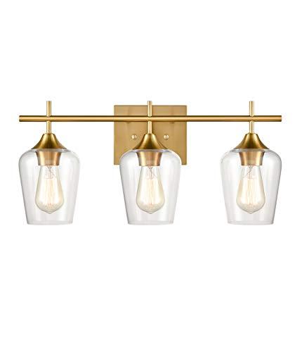 CLAXY Industrial Bathroom Vanity Lights 3-Light Clear Glass Wall Sconces