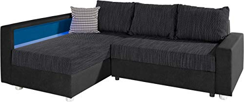 Collection AB Enjoy Polsterecke mit Bettfunktion und Bettkasten Ecksofa, Stoff, Schwarz, 161 x 224 x 84 cm