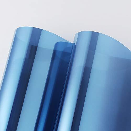 PROHOUS Spiegelfolie Selbstklebend Sonnenschutzfolie Hitzeschutz Wärmeisolierung 99% UV-Schutz Tönungsfolie Glasfensteraufkleber Blau-Silber Fenster sichtschutz für Haus und Büro 90 x 200cm