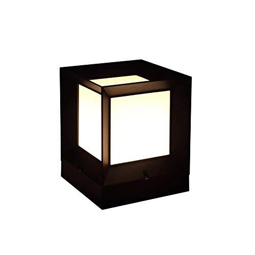 Pcqre Black Aluminum Square Landscape Light E27 Outdoor Acrylic Lawn Lamp Garden Waterproof Porch Light IP55 Lighting Post Lamp Vintage Garden Pillar Light (Size : Height-21cm)