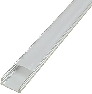 LEDwholesalers Aluminum Channel System with Cover, End Caps, and Mounting Clips, for LED Strip Installations, U-Shape, Pack of 5x 1m Segments, 1902-U