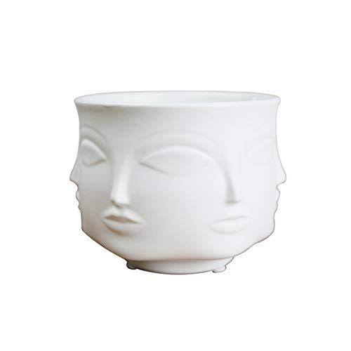 Snner Vasen Mann Gesichts-Blumen-Vase Moderner Keramik-Vase Home Decoration Vase Sukkulente Kaktus Indoor Blumentopf für Blumen-Topf Pflanz Weiß