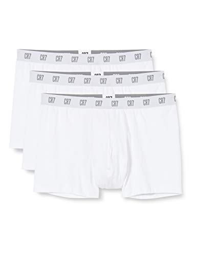 CR7 CRISTIANO RONALDO Herren Enganliegende Boxershorts (3er-Pack), Weiß, 2XL