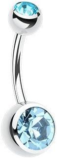 WildKlass Jewelry Double Gem Ball Steel Ball Belly Button Ring