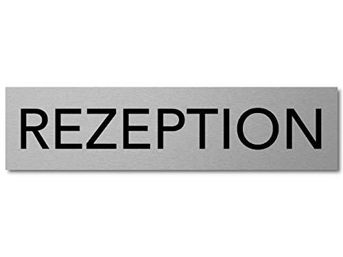 Interluxe Türschild Rezeption Schild aus Aluminium, 200x50x3mm, selbstklebend und wiederablösbar, dauerhafte oder temporäre Kennzeichnung für Rezeptionsbereich, Empfang, Eingang