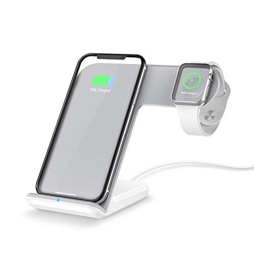 FACEVER 2 en 1 Estación de Carga inalámbrica Qi Base portátil Soporte de rápido Compatible con Apple Watch Series 1 2 3 4 iPhone X XS MAX 8 Plus Samsung S9 S8 Dispositivos habilitados para Qi -Blanco