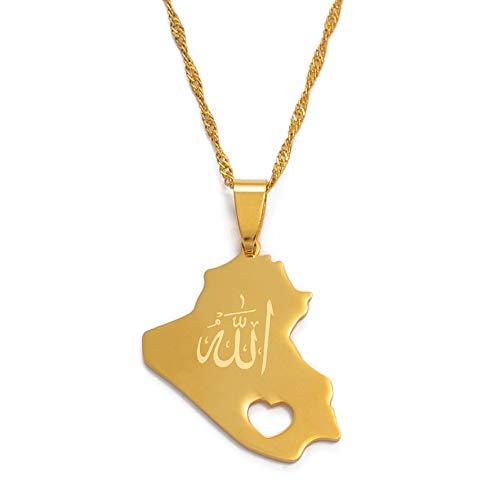 Mapa Colgante de la República de Irak Collar para Mujeres Niñas Color Dorado con Nombre de Alá Mapa de la joyería de Irak
