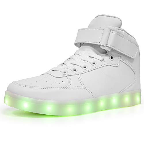 LED Light Up Shoes High top Sneakers Flashing Dancing Shoes for Women Men Gift with USB Charging Glowing Luminous Shoes White