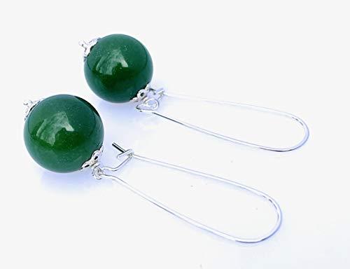 Pendientes de plata de ley 925 y jade verde esmeralda, joyas artesanales, chakra de el corazon, regalo para mujeres