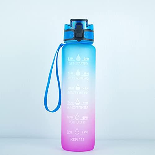 Jodimitty Botella de agua con pajita y asa, botellas de agua a prueba de fugas, sin BPA, cierre de 1 clic, gran jarra de agua deportiva para gimnasio, viajes y exteriores (polvo azul, 1 L)