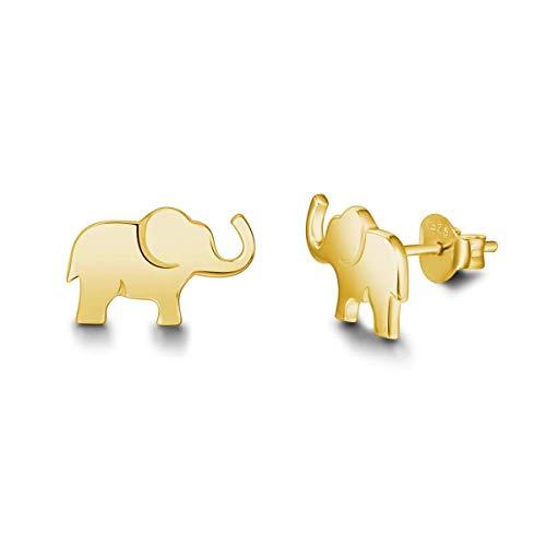 Pendientes de Elefante en Plata de ley 925 Chapado en Oro Joyas para Mujer Niñas - Dimensión: 13.2 * 8.2 mm