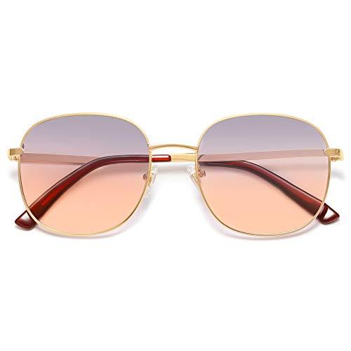 SOJOS Designer Rund Rechteckig Sonnenbrille Flat Verspiegelt Linse Metallrahmen SJ1137 mit Gold Rahmen/Graue Orange Verlaufslinsen
