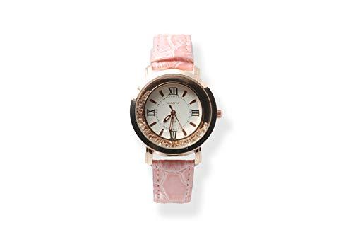 Xiaoya Reloj de Pulsera para Mujer con Piedras en el dial Analógico (Rosa)