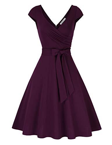 KOJOOIN Damen Vintage 50er V-Ausschnitt Abendkleid Rockabilly Retro Kleider Hepburn Stil Cocktailkleid Tiefpurpurn 【EU 34-36】/S
