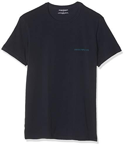 Emporio Armani Underwear Herren 2 Pack T Shirt Multipack Core Logoband Businesshemd, Blau (Marine/Marine 27435), Small (Herstellergröße:S) (2er Pack)