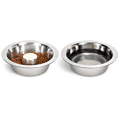 2 Stück Edelstahl Hundenapf, Hundenäpfe Futternapf, Große Hundenapf und Wasserschale, Langsame Fütterung Hundenapf aus Edelstahl