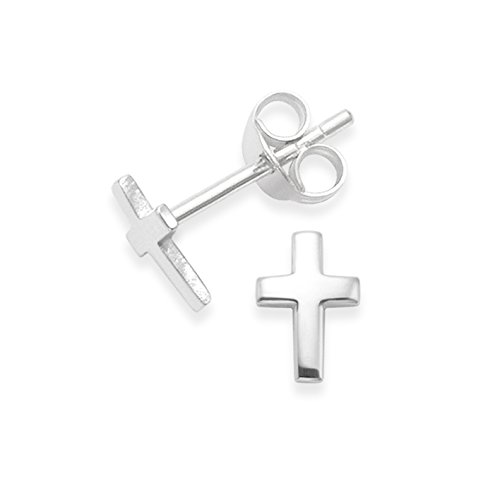 Pendientes de plata de ley Cruz - Tamaño: 7 mm x 5 mm x 0.8 mm , tamaño pequeño - Diseño pequeño y discreto . Caja de regalo