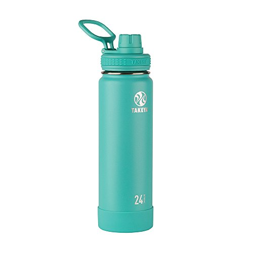 Takeya 51048 Actives Insulated Stainless Steel Water Bottle with Spout Lid, 24oz, Teal