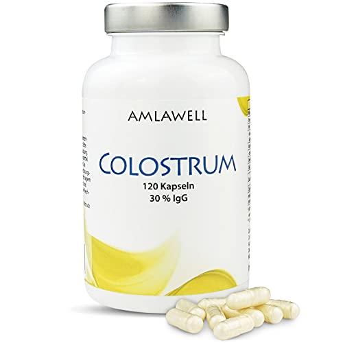 Amlawell Bio Colostrum Kapseln - Vegetarische Kapseln - aus deutscher Herstellung - wertvolle Inhaltsstoffe - 120 Kapseln in einer Packung erhältlich