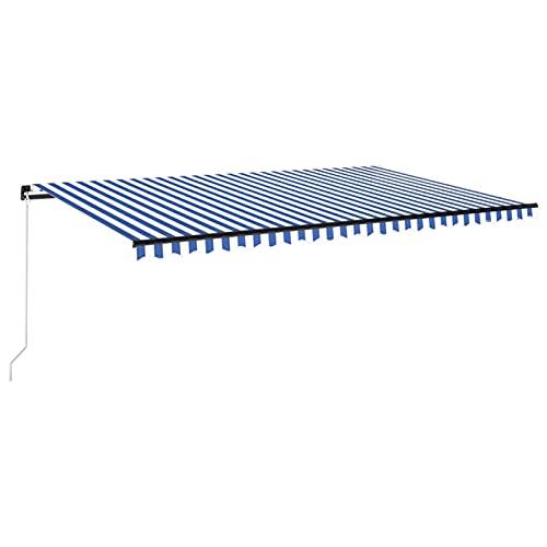 Tidyard Toldo Manual Retráctil con Tira LED Brazo Plegable Impermeable Protección Solar Porche Jardín Sombra Exterior Terraza Patio Azul y Blanco 500x300 cm