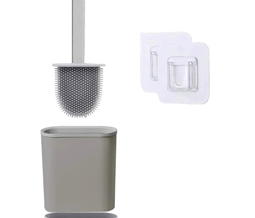 Toilettenbürste, Silikon WC Bürste und Behälter, Klobürste ohne Bohren Wandmontage & Stehen WC-Bürste mit Halter, Premium WC-Bürstefür Badezimmer - Space Grey