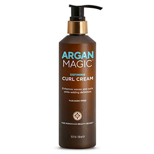 ARGAN MAGIC Defining Curl Cream - Enhances Waves and Curls While Adding Definition | Conditions, Detangles, and Reduces Frizz | Paraben Free (8.5 Ounce / 250 Milliliter)