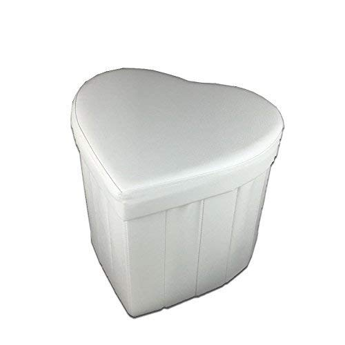 PREZIOSA HOME Pouf Contenitore Cuore Panca Baule Ecopelle Arredo Salotto Moderno Bianco -