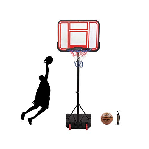 """Portable Basketball Hoop & Goal Basketball System Basketball Equipment Height Adjustable 65""""-104"""" Come with Basketball & Ball Pump for Youth Kids Indoor Outdoor Use … (Red)"""