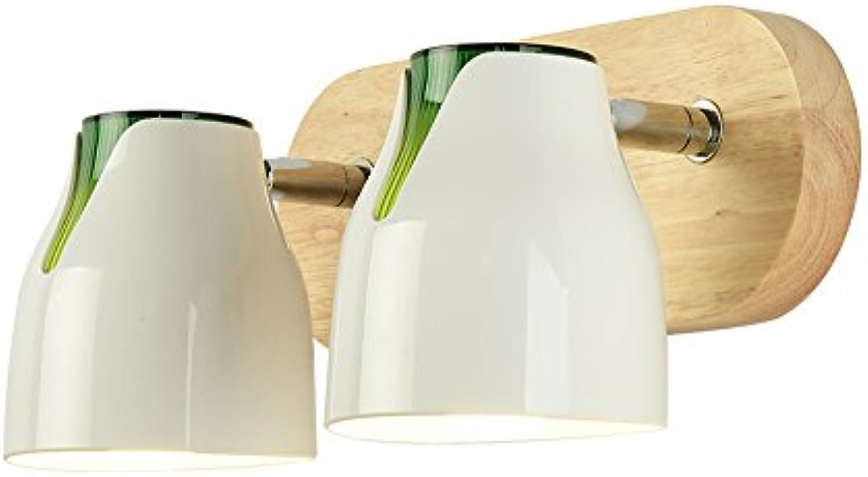 Nordic Original Holz Kunst Lampe Schlafzimmer Nachttischlampe Kreative Minimalistische Moderne Massivholz Wandleuchten Mit Lichtschalter E27 Wei Wandleuchte (gre   B  2heads 28  14cm)