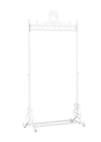 NEUN WELTEN Stand appendiabiti in metallo di qualità - Elegante e solido - Design unico - Deposito Stile Vintage - Ferro battuto con mensola - Bianco