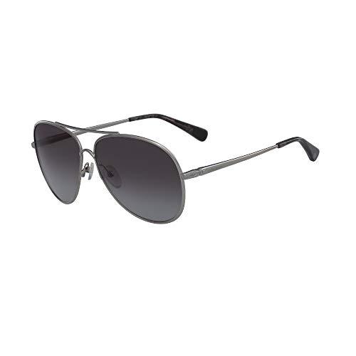 Longchamp Unisex Sonnenbrille, Metallrahmen, graue Gläser, LO104S6112033
