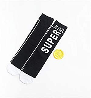Lovely Socks Children Cotton Socks Kids Spring and Summer Letter Patterns Mid Tube Socks(White) Newborn Sock (Color : Black)