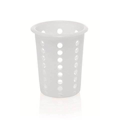 Kerafactum – Lavello con cestello per lavastoviglie per Posate e Piccoli Pezzi Rotondi cestello Portaposate cestello per lavastoviglie Universale Porta Posate Posate Bicchiere di plastica Rotondo