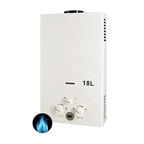 Calentador de Gas 18L, RBAYSALE 2000W Calentador de Agua de Gas 18L Calentador De Gas Butano Calentador de Agua Instantaneo Calentador Gas Propano Hot Water Heater