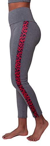 Pantaloni da Yoga Donna Fitness Yoga Leggings Patchwork Leopardo a Vita Alta Controllo della Pancia, Grigio Chiaro Rosso Leopardo 84540 XXL-3XL