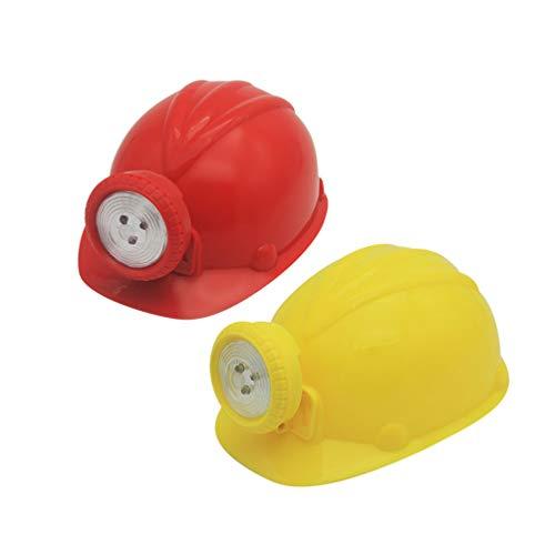 Toyvian Casco de minero de simulación de 2 piezas casco de juego de roles para niños casco amarillo rojo para fiesta escolar ✅