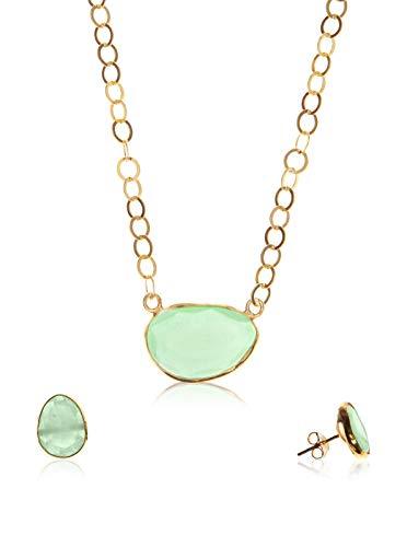 Córdoba Jewels | Conjunto de Gargantilla y Pendientes en Plata de Ley 925 bañada en Oro. Diseño Kiut Esmeralda Oro