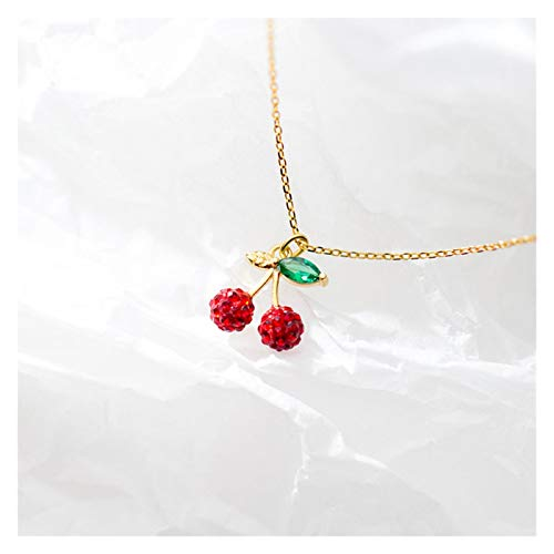 JJH Red Cherry Necklace for Women, 925 Sterling Silver, for Wife Mother Girlfriend Birthday Christmas, 45 cm / 17.7' Chain (Color : Gold)