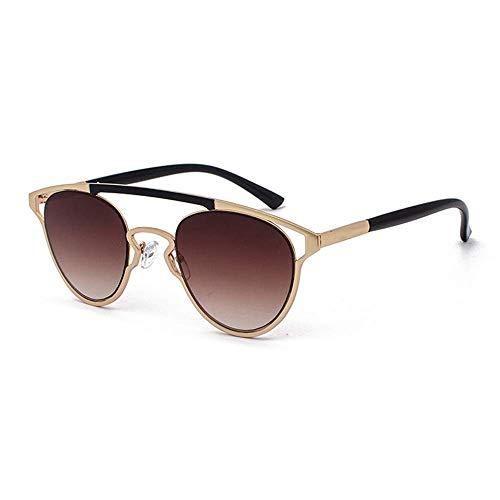 WMYATING Gafas de Sol, Ojos, a Prueba de luz, a Prueba de t Gafas de Sol Retro Personalidad Gafas de Sol Nuevo Oval Hollow Unisex 400 Protección Marco de Oro Lente de gradiente marrón
