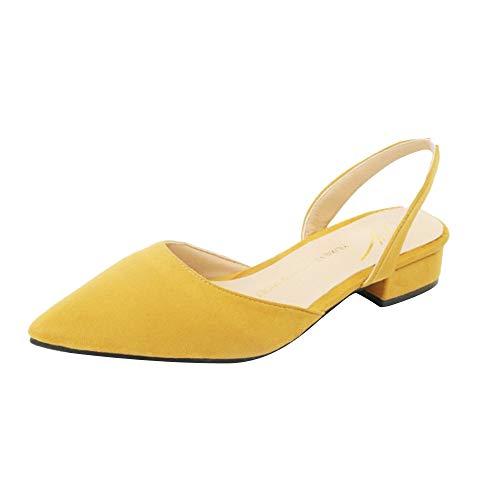 MEIbax Damen Spitz Sandalen Slingback Kitten Absatz Pointed Toe Pumps Mittlere Fersen Bequeme Schuhe
