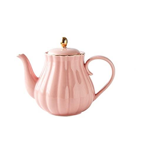 XWYWP Teteral, Tetera de cerámica Calabaza Forma Pintados de Oro de China de Hueso Tetera con colador de té Elegante Tea Pot Set 1L Mano (Color : Pink)