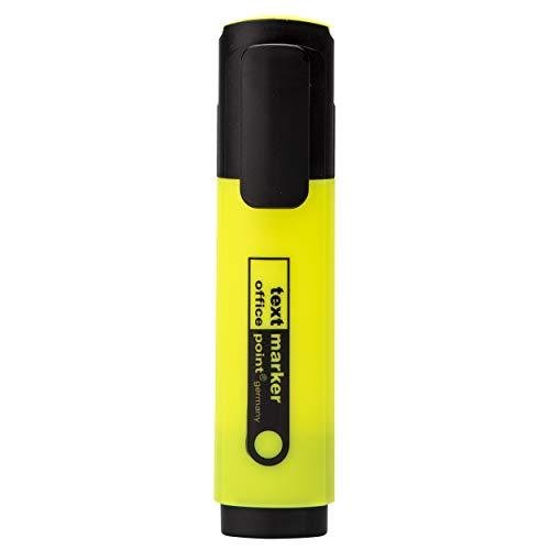 Textmarker 10 Stück Office Point   2-5 mm   hohe Leuchtkraft   Schaftfarbe: in Schreibfarbe   Marker mit praktischer Keilspitze (Gelb, 10)