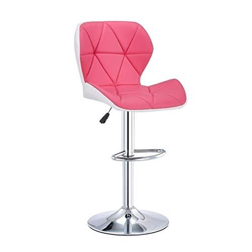 N/Z Wohnausstattung H Barhocker Barhocker Stuhl Verstellbarer Esszimmerstuhl aus Edelstahl mit Rückenlehne PU-Leder Restauranthocker Kitchen Island Counter Barhocker (Farbe: C)