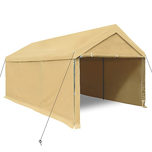 Carport, 10 x 20 Foot Heavy-Duty Carport, with Removable Side Walls and Doors, Car Canopy, Boat and Market Stalls, 180g of PE Tarp, Beige