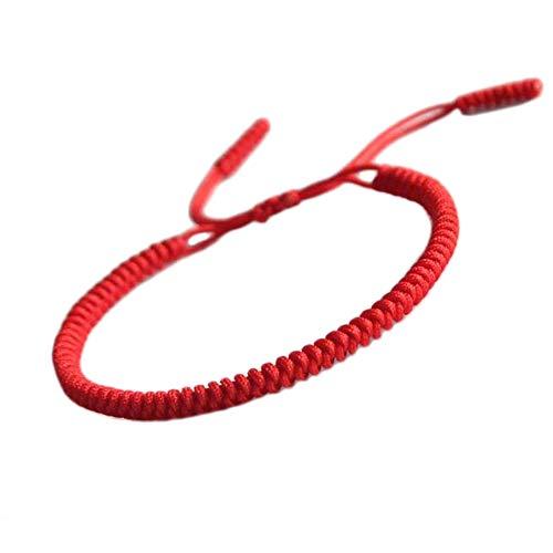 Men Women Chinese Lucky Red String Bracelet Tibetan Buddhist Prayer Handmade Yoga Prayer Rope Mala Bracelet Adjustable Size (Red)