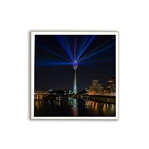 Düsseldorf, Rheinkomet, Fernsehturm, Medienhafen, Fotografie, Foto auf Holz, im Quadrat, 13 x 13 cm handmade
